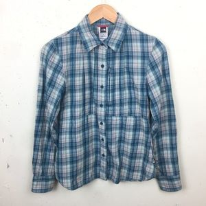 North Face Plaid Blue Button Down Top Small